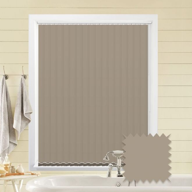 Taupe vertical blinds - Made to Measure vertical blind in Splash Hessian - Just Blinds